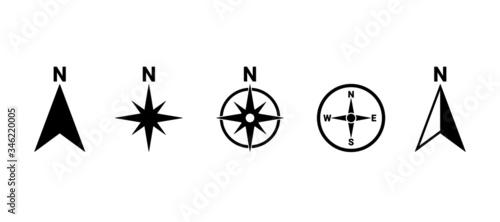 North symbol vector set, direction compass icon Tableau sur Toile