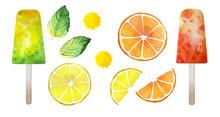 Yellow, Orange, Green Set. Lemon Fruit Slice, Grapefruit Slice, Two Mint Sheets, Green And Orange Popsicles, Two Juice Drops. Fresh Summer Watercolor Illustration. Isolated On White