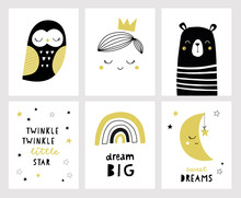 Set Of Posters For Nursery Or Kids Room In Scandinavian Style With Hand Lettering. Cute Hand Drawn Illustration For Baby Shower Invitation, Greeting Card. Prince, Bear, Moon, Rainbow, Owl, Bear.