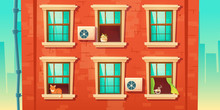 Building Facade With Brick Wall And Windows In Wooden Frames. Vector Cartoon Illustration Of House Front With Downpipe, Closed And Open Glass Windows With Cat, Plant And Coffee On Sills