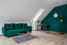 Attic Living Room With Emerald...