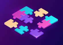 Isometric Puzzle Pieces On Purple Background. Concept Of Teamwork, Communication, Problem Or Challenge Solution. Vector 3d Illustration Of Unfinished Colorful Jigsaw Game