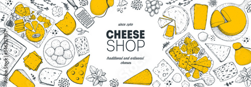 Fototapeta Cheese design template. Hand drawn sketch. Retro food background. Different cheese kinds banner. Dairy farm products cheese. obraz