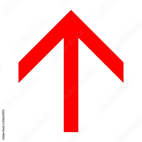Red angular up arrow icon on a white background Canvas Print