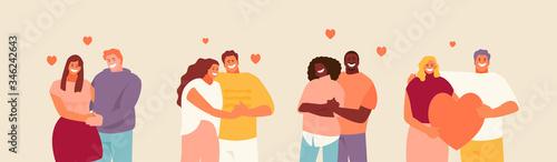 Obraz Loving hugging couples set. Valentine day vector illustration - fototapety do salonu
