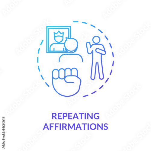 Photo Repeating affirmations concept icon