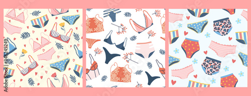 Obraz Set of seamless patterns with woman lingerie and underwear. Three backgrounds with stylish bras, panties and bikinis. Hand drawn pattern for textile, T-shirt, wrapping paper. Cute feminine undies set. - fototapety do salonu