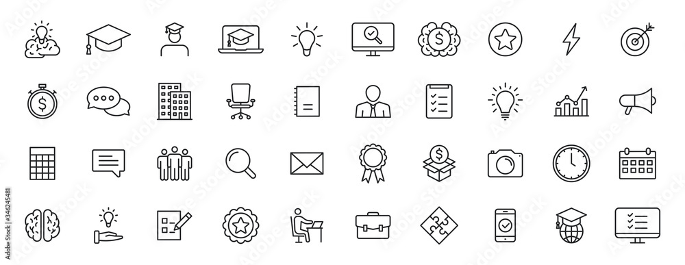 Fototapeta Set of 40 Education and Learning web icons in line style. School, university, textbook, learning. Vector illustration.