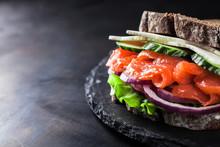 Sandwich With Salmon, Onion, L...