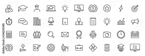 Foto Set of 40 Education and Learning web icons in line style