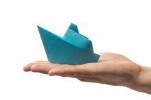 Blue Paper Ship In Human Palm....