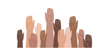 Hands Of Different Skin Colors Raised Up. Vector Illustration