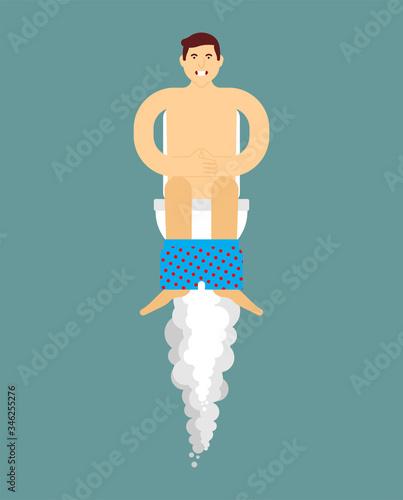 Valokuva Great farting. Flying on toilet. flatulence vector illustration