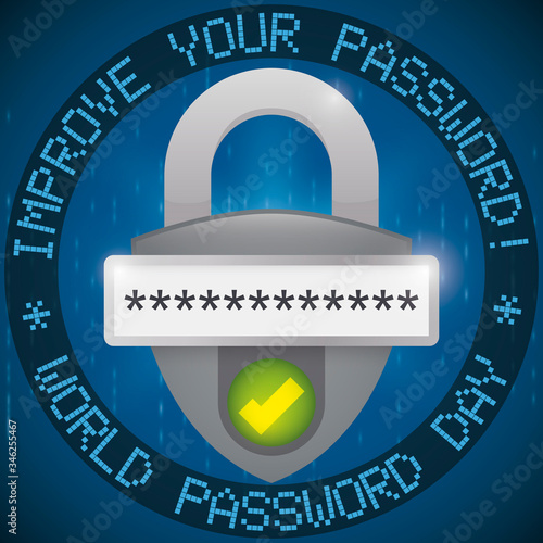 Photo Padlock with Authenticated Password Promoting Security in its Day, Vector Illust