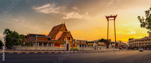 Canvastavla panorama public places, The beauty of Wat Suthat and Sao Ching Cha (Giant Swing) during sunset