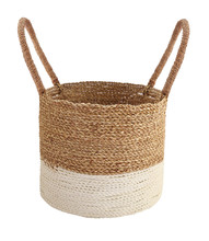 Woven Basket Isolated On White . Details Of Boho Style Eco Bohemian Design Interior