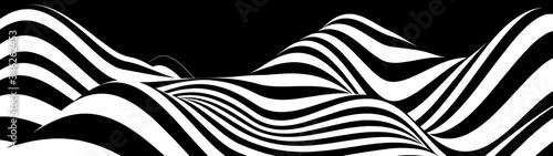 Naklejka premium Streszczenie fala białe i czarne zakrzywione linie. Halucynacja. Złudzenie optyczne. Skręcona ilustracja. Futurystyczne tło linii. Fala dynamiczna. Wektor.