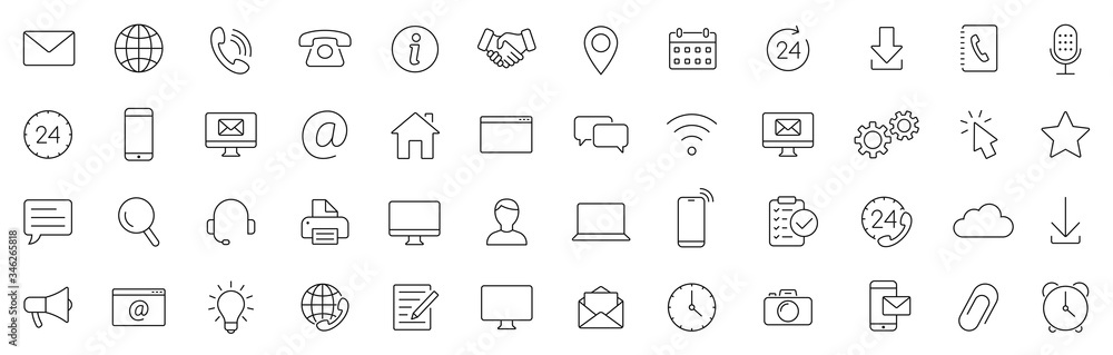 Fototapeta Contact thin line icons set. Basic contact icon. Vector