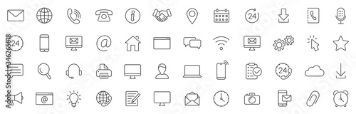 Obraz Contact thin line icons set. Basic contact icon. Vector - fototapety do salonu