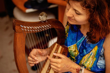 Young Woman Playing Celtic Harp And Small Bird.