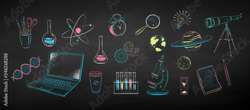 Collection of science objects Wallpaper Mural