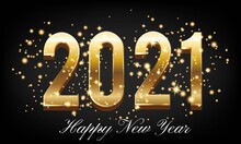 Golden Happy New Year 2021 With Burst Glitter On Black Colour Background - Happy New Year 2021 Golden Background With Burst Glitter – New Year 2021 Golden Text Background Vector Illustration