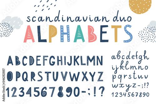 set of two vector scandinavian lettering alphabets Wallpaper Mural