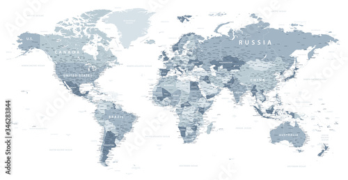 Fotografía World Map Political - vector illustration