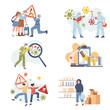 Stop and fight Coronavirus Covid-19 outbreak vector flat illustration. People living during global pandemic of 2019-nC0V.