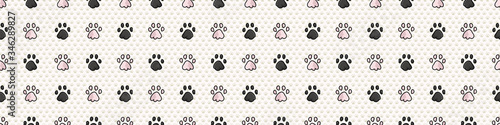 Hand drawn cute pink and black pet cat paw with claw seamless vector border Canvas Print