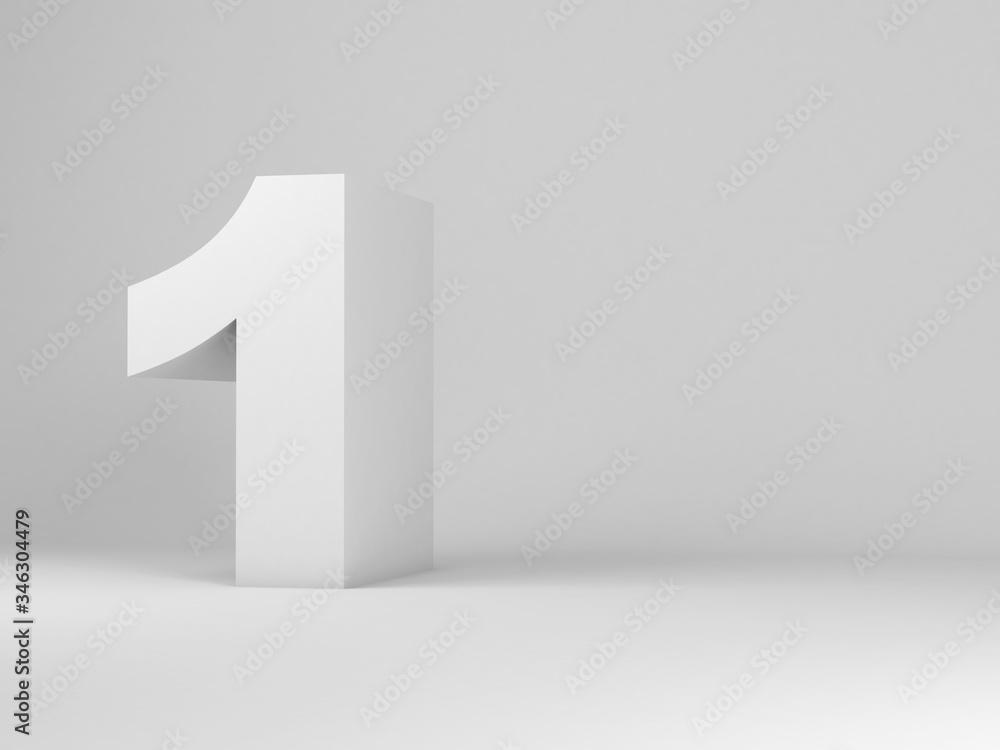 Fototapeta White digit one installation in an empty studio room, 3d