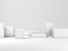 Minimal Still Life Installation With White Boxes, 3d