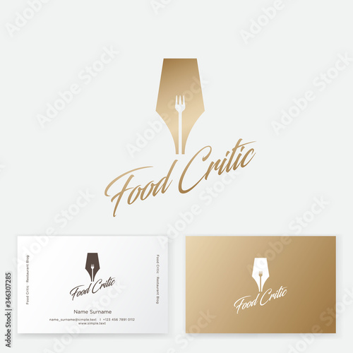 Gold writing pen with a fork silhouette in the slot Fototapeta
