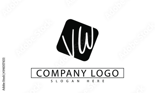 Photo VW initial Letter Logo Design Template Vector in black rounded box