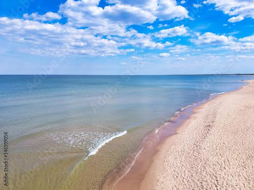 Fototapeta Aerial landscape of the beautiful beach at Baltic Sea in Sobieszewo, Poland obraz