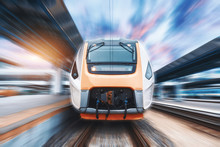 High Speed Train In Motion On ...