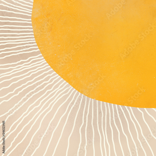 Photo boho abstract sun art yellow and neutral colors hand-painted illustration, textu