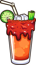 Cartoon Mexican Bloody Mary Al...