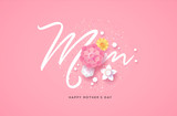Happy mother's day papercut flower mom card