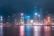 Victoria Harbor of Hong Kong skyline at night