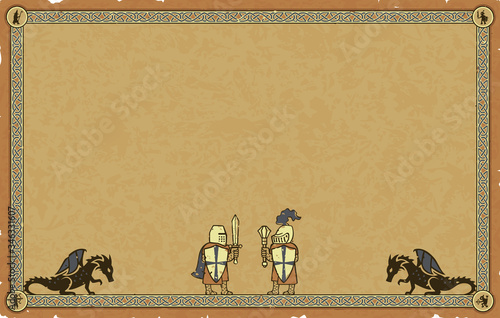 Ornate vector medieval frame with Celtic knots, dragon silhouettes and Templar Knights on a worn beige paper parchment background Fototapeta
