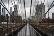 Brooklyn bridge. Rainy Brooklyn bridge view. Brooklyn bridge close up view. Rainy day at Brooklyn bridge.