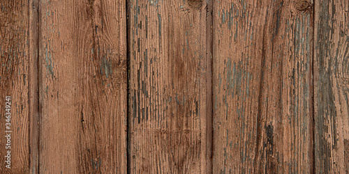Fototapeta Old shabby and rural wooden texture with peeling brown and beige paint