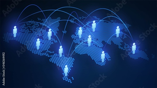 Blue world map with people icons, social network and globalization concept Fototapet