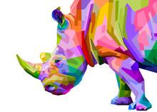 Colorful Rhinoceros Pop Art St...