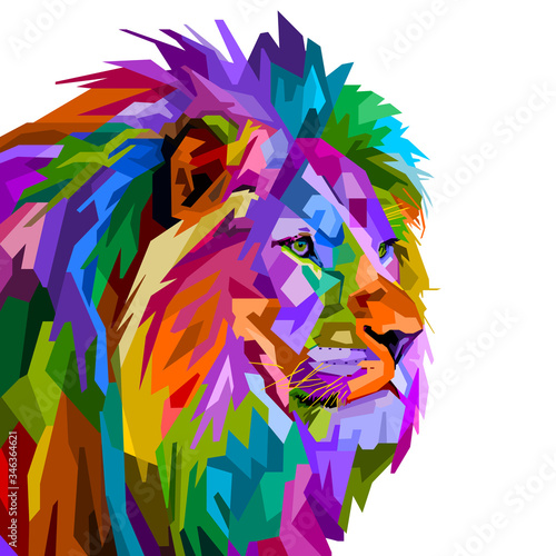 Obraz colorful lion head on pop art style isolated on white background. vector illustration - fototapety do salonu