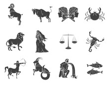 Set Of Silhouettes Of Zodiac S...