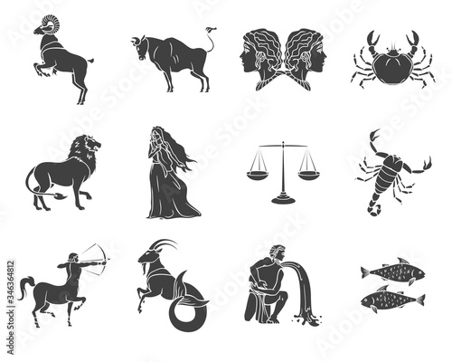 Set of silhouettes of zodiac signs symbols on a white background Canvas Print