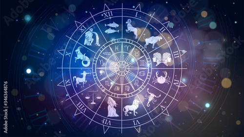 Fotografie, Obraz Zodiac signs revolve around the moon in space, astrology and horoscope