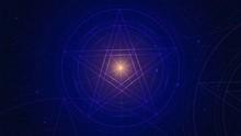 Linear Glowing Pentagram In Th...